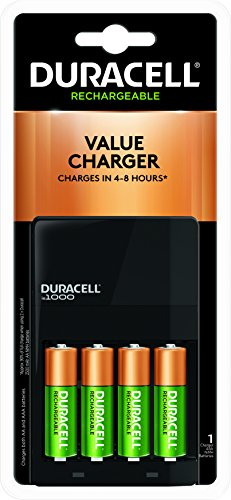 NiMH AA or AAA Battery Charger, Includes 4 Pre-Charged Rechargeable AA Batteries Duracell Pre-charged Rechargeable