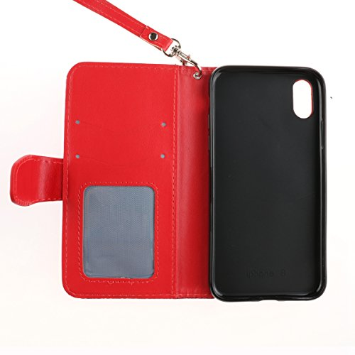EUWLY Leather Custodia Cover per iPhone X in PU Pelle Portafoglio Custodia Case Mandala Sole Fiore Modello PU Leather Custodia Wallet Premium Morbido Soft Pelle Custodia Cover Chiusura Magnetica Card Rosso