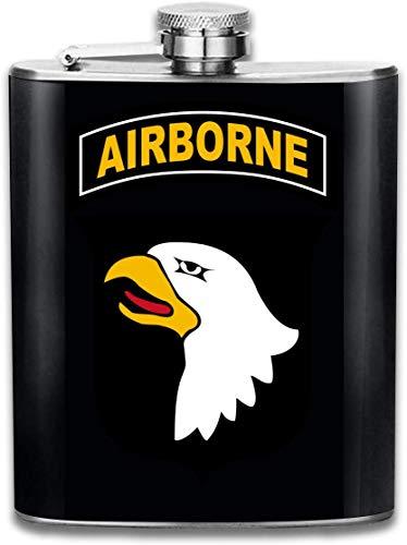 101st Airborne Division Edelstahl Flachmann, Whisky Flachmann 7oz, personalisierte Flasche Groomsmen Geschenke