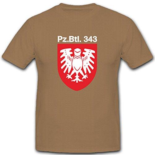Panzerbataillon 343 Pzbtl343 Bundeswehr Abzeichen Wappen Emblem Koblenz Augusta Kaserne - T Shirt #2148, Farbe:Sand, Größe:Herren L