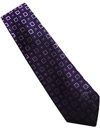 "Versace Purple Square Patterned 100% Silk Men's Tie 3"" Wide"