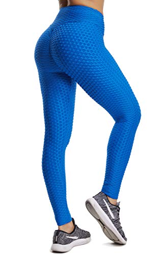 FITTOO Pantaloni Tuta Donna Yoga Pants Leggins Sportivi Push up Fitness Ginnastica, Blu, M