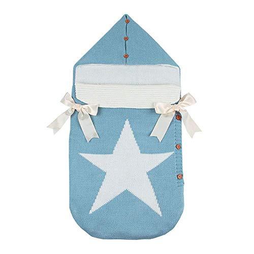 Chenqi baby wrap swaddle - coperta con bottoni all'uncinetto coperta con bottoni in maglia 0-12 mesi azzurro, una grande stella