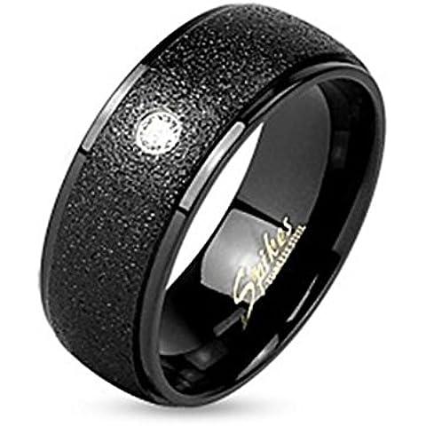 Paula & Fritz anello in acciaio INOX chirurgico 316L Nero 6 - 8 mm anello (Kingdom Hearts Corona)
