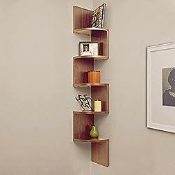 A10 Shop Corner Wall Mount Shelf Unit Zigzag Shape -Walnut finish