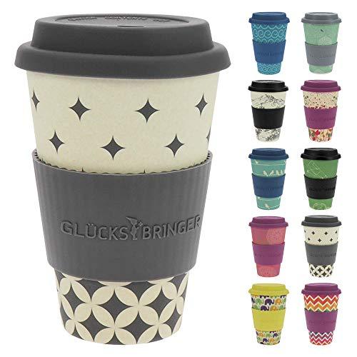 ebos Glücksbringer Coffee-to-Go-Becher aus Bambus | Kaffe-Becher, Trink-Becher | wiederverwendbar, natürliche Materialien, umweltfreundlich, lebensmittelecht, spülmaschinengeeignet (Flowing Graphics)