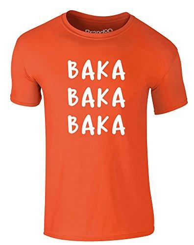 Brand88 - Triple Baka, Erwachsene Gedrucktes T-Shirt Orange/Weiß
