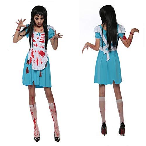 Costume di halloween costume da zombie per adulti fantasma sposa zombi vestito sanguinante medico infermiere vampiro,m