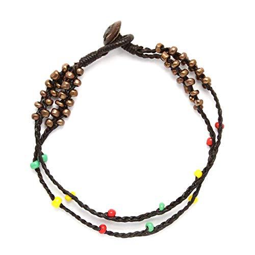 Idin Jewellery Cordoncino di cera intrecciata doppio filo fatto mano con cavigliera multicolore stile rasta