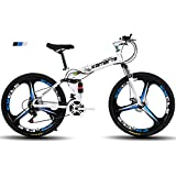 FJW Bicicleta de montaña para Hombres, Ruedas de 26'de 3 Pulgadas Marco de Acero de Alto Carbono, Velocidad 21/24/27 Bicicleta Plegable Doble suspensión Unisexo con Frenos de Disco,Black,24Speed