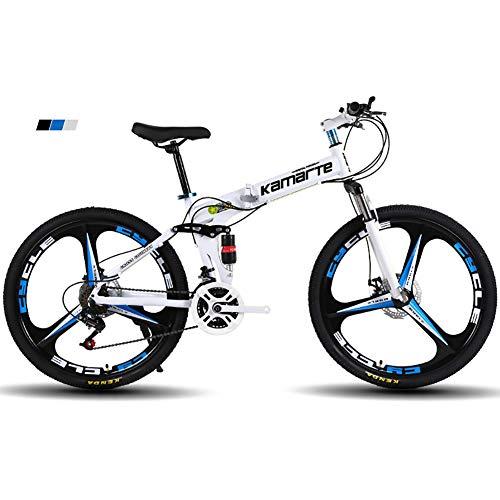 "FJW Bicicleta de montaña para Hombres, Ruedas de 26\""de 3 Pulgadas Marco de Acero de Alto Carbono, Velocidad 21/24/27 Bicicleta Plegable Doble suspensión Unisexo con Frenos de Disco,Black,21Speed"