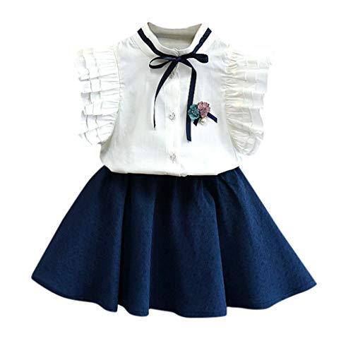 feiXIANG mädchen Röcke Zwei stücke Set Kleidung Kinder Kleid Rock Chiffon Bluse + Dot Rock Printkleid (140, V/Marine)