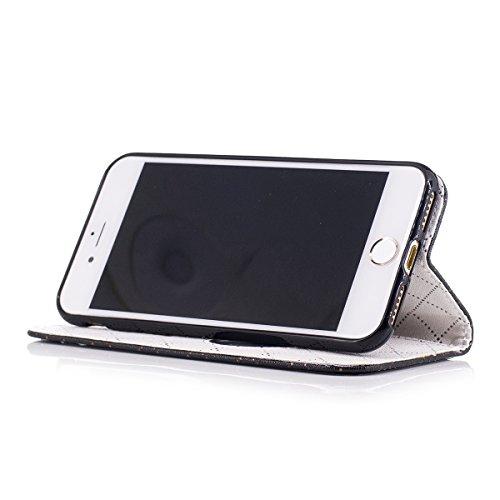 iPhone 7 Custodia, iPhone 7 Cover Wallet, SainCat Custodia in Pelle Cover per iPhone 7, Anti-Scratch Protettiva Caso Elegante Creativa Dipinto Pattern Design PU Leather Flip Portafoglio Custodia Libro nero