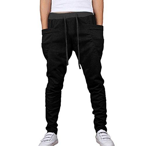Minetom Désinvolte Occasionnel-Mélange De Coton Pantalon De Sport-Pantalon De Danse-Confort Hommes Casual Danse Pantalon Hiphop Baggy Sport Jogging Sarouel Pants Noir