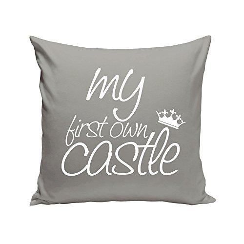 Shirt Department - Dekokissen - My First own Castle - Geschenk zum Einzug - 40 x 40 cm grau-Weiss