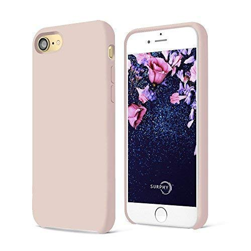 SURPHY iPhone 7 Funda, iPhone 8 Funda, Ultra Suave 4.7 Pulgadas Case Líquido de Silicona Gel iPhone 7/8 Slim Fit Suave con Forro de Gamuza de Microfibra Suave Cojín, Rosa