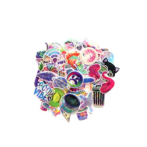 70 Stück Aufkleber Regenbogen Flash Rosa Aufkleber Galaxy PVC Cartoon Träume Aufkleber Koffer Trolley Koffer Notizbuch Handy Kühlschrank Graffiti Aufkleber Geschenk für Mädchen (70 Pcs)