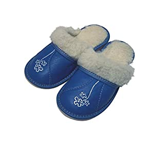 Warme blaue Blumen Leder Wolle flauschige Frauen Hausschuhe Pantoletten Größen 36-42