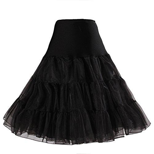 BOOLAVARD® 50er Jahre Petticoat Vintage Retro Reifrock Petticoat Unterrock für Wedding bridal Petticoat Rockabilly Kleid in mehreren Farben (L-XXL, Schwarz)
