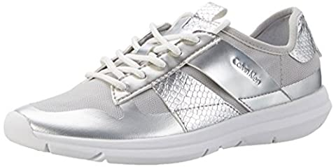 Calvin Klein Jeans Iden Fine Mesh/Printed Snake, Sneakers Basses Femme, Argent (Silver), 39 EU