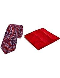 DUCHAMP London Men's 100% Silk Red Paisley & Pocket Square Set