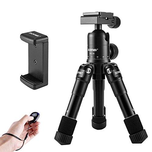 ZOMEi Mini Stativ Handy CK-30 Klein Kamera Stativ mit Kostenlose Handy-Handy-Halter und Robust Kugelkopf für Canon Nikon Digitale Spiegelreflexkamera and Smartphone (Stativ Canon Professional)