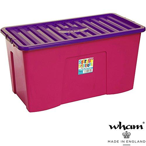 Hochwertige XXL Box mit Deckel, 110l, 79,5x39,5cm ✓ Lebensmittelecht ✓ Sicherer Clip-Verschluss ✓ Stapelbar ✓ Schadstofffrei | Fuchsia-violett | Transport-Kiste, Lagerbox, Aufbewahrungs-Kiste, Aufbewahrungsbox, Stapelbox, Transportbox, Plastik-Box, Kunststoff-Box