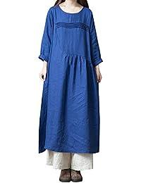 Qmber Kleider Damen Kleid Bluse Elegant Lose Business Langarm Einfaches Beiläufiges Herbst Winter Viskose Polo Shirt Hemdkleid Petticoat, Große Größe Baumwolle Leinen Boho Kleid