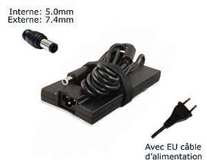 """AC Adaptateur secteur pourDell LA90PE1-01 DA90PE0-00 FA90PE1-00 ADP-90VH Dchargeur ordinateur portable, adaptateur, alimentation (avec garantie 12 mois et câble d'alimentation européen """"Laptop Power (TM)"""" de marque)"""