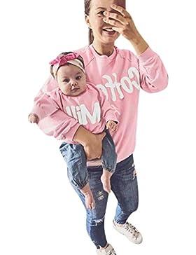 Mamá y yo Mujeres / Bebé Sudadera de manga larga con estampado de letras Ropa familiar Ropa de deporte Parte superior