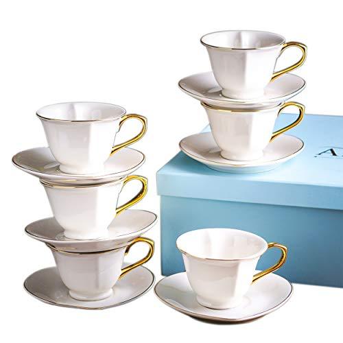 ARTVIGOR Porzellan Kaffeeservice in Geschenkverpackung, 12-teilig Set Kaffeetassen mit Untertassen,...