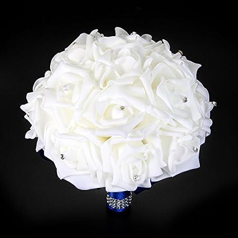 XCSOURCE® Ramo de Novia para Novia Romántica Hecho a Mano con Rosas y Perlas (Azul) WV224