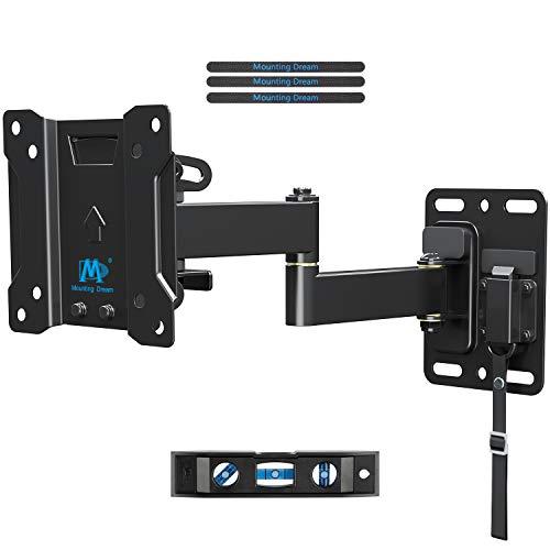 Mounting Dream TV Halterung Wohnwagen Arretierbar für die meisten 10-26 Zoll TVs mit VESA 75x75-100x100mm bis zu 10kg, TV Wandhalterung Schwenkbar Neigbar Abschließbar für Wohnmobil/RV/Campingwagen