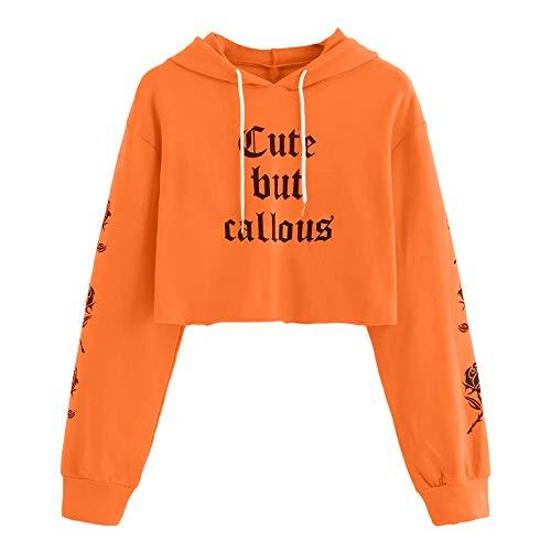 Felpe Ragazza Corte Tumblr,Mambain Felpa con Cappuccio Donna Maniche Lungo Stampa Lettera Pullover Casual Moda Top Taglie Forti Sweatshirt Cappotti Invernali(Arancione,M)