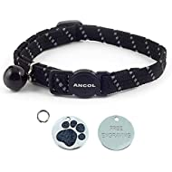 ANCOL Cat Black Reflective Elasticated Softweave  Collar With Engraved Paw Print Glitter Cat ID Tag