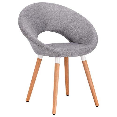Woltu bh72hgr-1 sedia da pranzo soggiorno poltroncina con schienale tessuto di lino gambe legno salotto cucina ristorante grigio chiaro