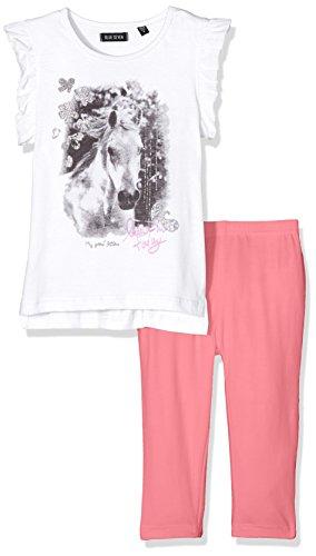 BLUE SEVEN Mädchen Bekleidungsset kl Md SET: T - Shirt + Capri 727012 X, Einfarbig, Gr. 98, Weiß (Weiss Orig 001) (Set Capri Kinder)