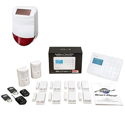 Safe2Home Funk Alarmanlagen Set SP110 mit Sabotageschutz Solar Sirene deutschsprachiges GSM Alarmsystem SMS Alarmierung - Alarmanlagen fürs Haus Büro inkl. Zubehör Sensoren z.B. Bewegungsmelder