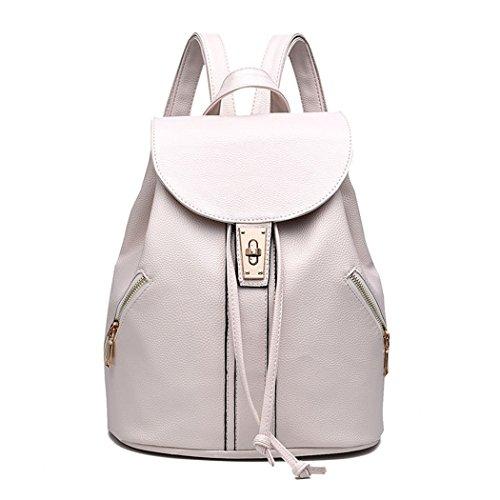 Lounayy Cityrucksack Damen Klein Lederrucksack Tasche Und Rucksack In Einem Schultasche Schulrucksack Hipster Freizeitrucksack Laptoptasche Rucksack Leder (Color : Weiß)