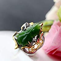 THTHT Vintage 925 Silver Ring Jade Woman Opening Natural Jasper Fish Fashion Elegant Creative Classic Elegant Ethnic Characteristics