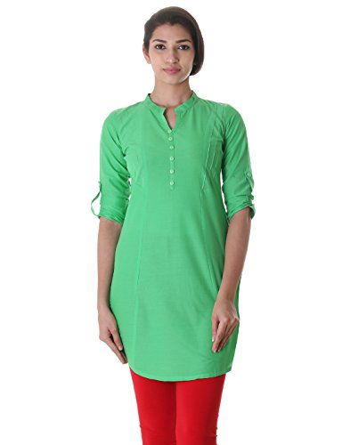 Chinese Collar Ming Green Elegant Short Kurti From eSTYLe With Pin Tucked...