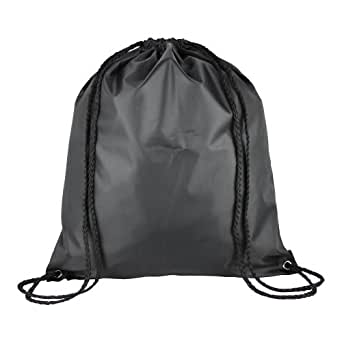 1 Kids Nylon Drawstring Rucksack / Backpack - School, Gym, Swim, Book Bag (Black)
