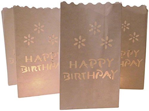 httüten Lichtertüten Happy Birthday Geburtstag für Teelichter Kerzen Laternen weiß Kerzenhalter (Kleine Papier-laternen)