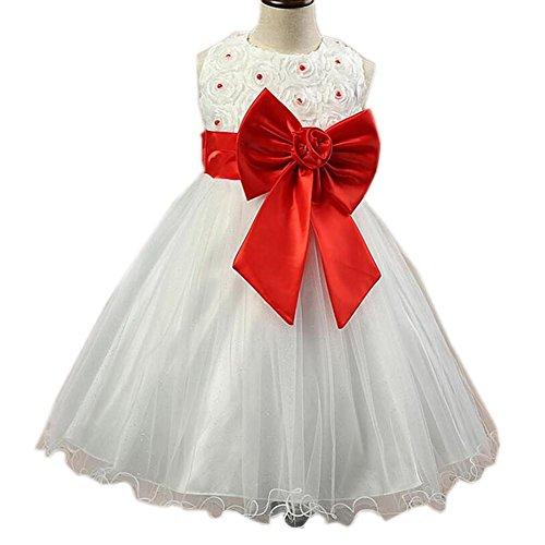 Wgwioo Robe De Demoiselles Robe Robes Arcs Pearl Tulle Mousseline De Soie Costumes De Fête Anniversaire Mariage Reconstitution Historique Demoiselle D'Honneur Baptême Sans Manches Jupe Enfant Vêtements Enfan Red (D'halloween Kostüm Indienne)