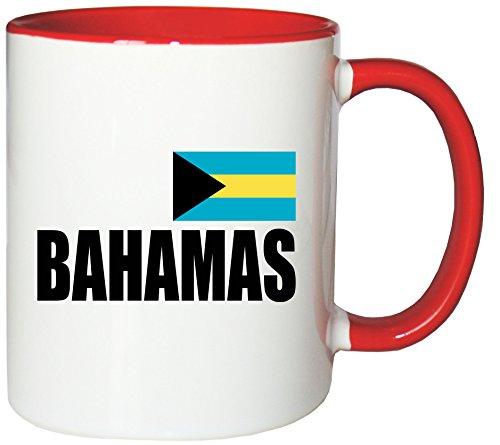 Mister Merchandise Kaffeetasse Bahamas Fahne Flag Teetasse Becher, Farbe: Weiß-Rot Bahama Becher