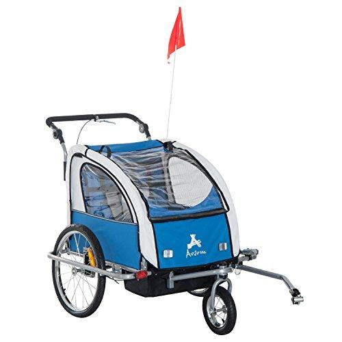 HOMCOM Remolque Infantil Bicicleta 2 PLAZAS Rueda