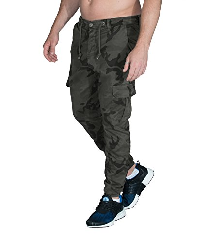 BetterStylz by UC OliBZ Camouflage Cargo Chino Jogger Hose Army Style Seitentaschen Trainingshose Urban Camo (32) (Groß-sport-twill-hose)