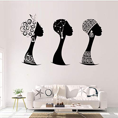 Afrikanische Frau Profil Vinyl Wandaufkleber Ausgangsdekor Wohnzimmer Schwarze Frau Silhouette Wandtattoo Abnehmbare Aufkleber Wandbild 42X93cm