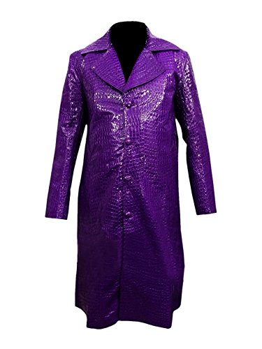Leto Joker Purple Crocodile Textur Lederjacke Long Coat- Perfekte Halloween-Kostüm- XXS ()