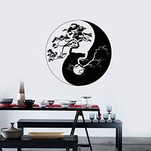 Vinyl Wandtattoo Yin Yang Zen Philosophie Baum Asiatische Wandaufkleber Wand Wohnzimmer Schlafzimmer Home Decorate Decals Tapete 57x57 cm -
